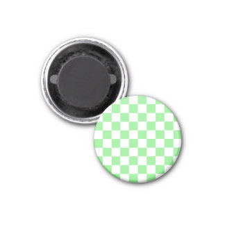Checkered - White and Light Green 1 Inch Round Magnet