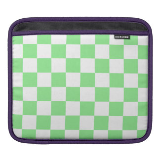 Checkered - White and Light Green Sleeve For iPads