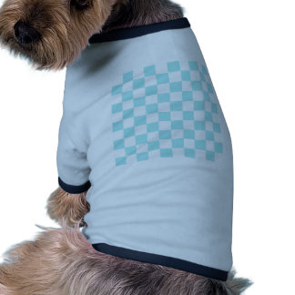 Checkered - White and Pale Blue Doggie Tee Shirt