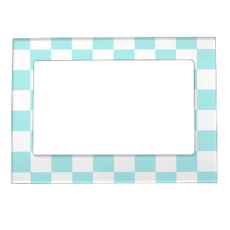 Checkered - White and Pale Blue Magnetic Photo Frame