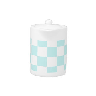 Checkered - White and Pale Blue Teapot