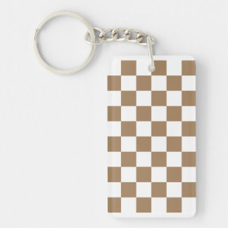 Checkered - White and Pale Brown Double-Sided Rectangular Acrylic Keychain