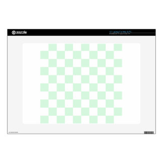 """Checkered - White and Pastel Green 15"""" Laptop Decals"""