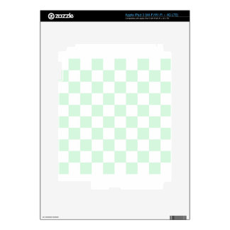 Checkered - White and Pastel Green Decals For iPad 3