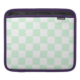 Checkered - White and Pastel Green Sleeve For iPads