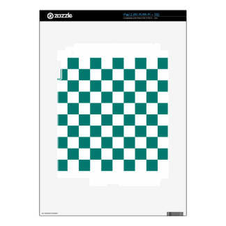 Checkered - White and Pine Green iPad 2 Decal