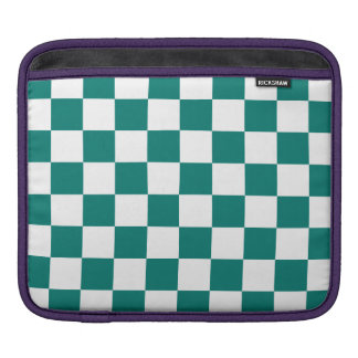 Checkered - White and Pine Green Sleeves For iPads