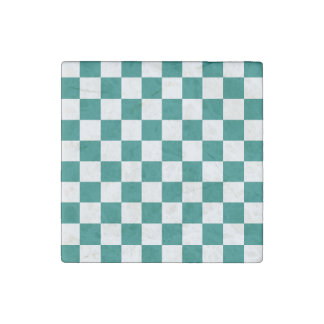 Checkered - White and Pine Green Stone Magnet