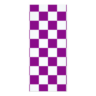 """Checkered - White and Purple 4"""" X 9.25"""" Invitation Card"""