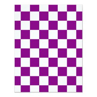 """Checkered - White and Purple 4.25"""" X 5.5"""" Invitation Card"""