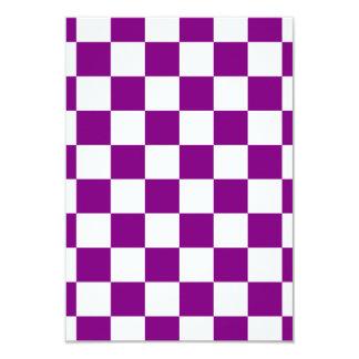 """Checkered - White and Purple 3.5"""" X 5"""" Invitation Card"""