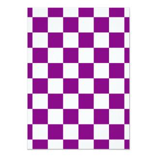 """Checkered - White and Purple 4.5"""" X 6.25"""" Invitation Card"""