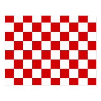 Checkered - White and Rosso Corsa Postcard