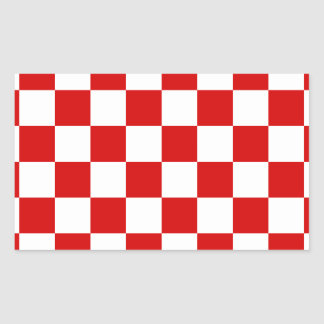 Checkered - White and Rosso Corsa Rectangular Stickers