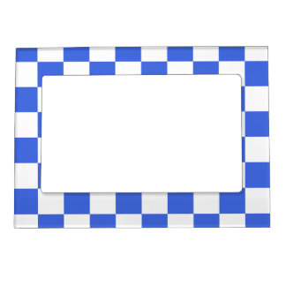 Checkered - White and Royal Blue Magnetic Picture Frame