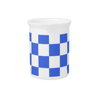 Checkered - White and Royal Blue Pitcher
