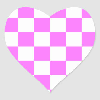 Checkered - White and Ultra Pink Heart Sticker