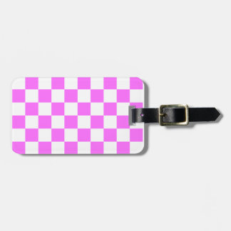Checkered - White and Ultra Pink Tags For Luggage