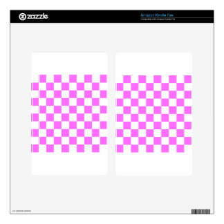Checkered - White and Ultra Pink Kindle Fire Skins