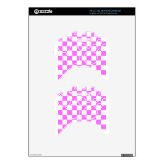 Checkered - White and Ultra Pink Xbox 360 Controller Skins