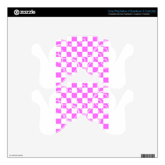 Checkered - White and Ultra Pink Skins For PS3 Controllers