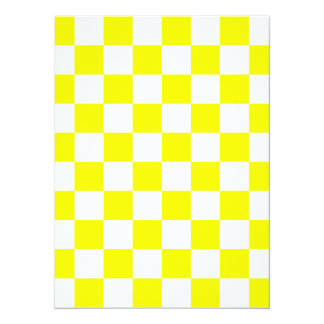Checkered - White and Yellow 5.5x7.5 Paper Invitation Card