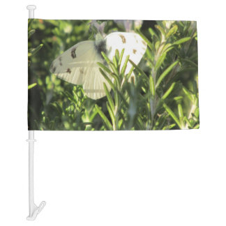 Checkered White Butterfly Car Flag