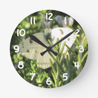 Checkered White Butterfly Clock