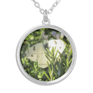 Checkered White Butterfly Necklace