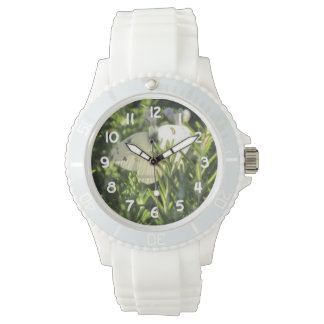 Checkered White Butterfly Wrist Watch