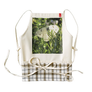 Checkered White Butterfly Zazzle HEART Apron