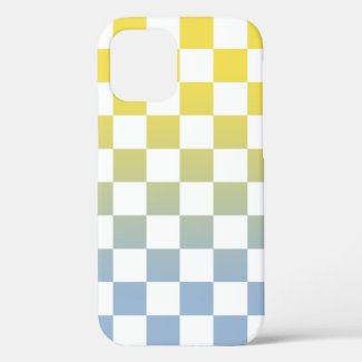 Checkered Yellow to Light Blue Ombré Pattern Case-Mate iPhone Case