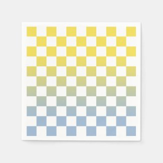 Checkered Yellow to Light Blue Ombré Pattern Napkins