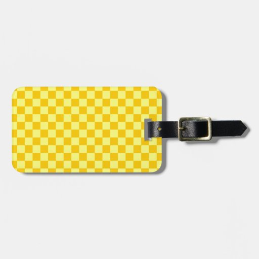 CheckeredLarge-Yellow1-Yellow y amarillo de la man Etiqueta De Equipaje