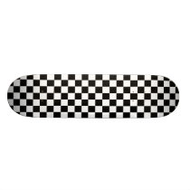 Checkers Black and White Checkerboard Pattern Skateboard Deck