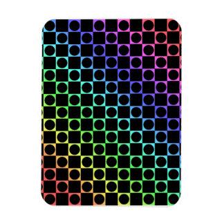 Checkers & Circles, Rainbow & Black Vinyl Magnet