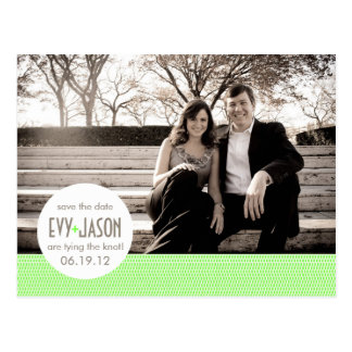 Checkers + Dots- Custom Save the Date - Lime Post Card