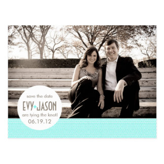 Checkers + Dots- Custom Save the Date - Teal Postcard