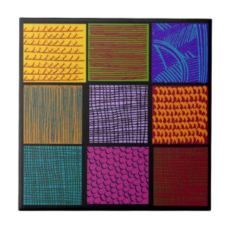 Checkers Folk Art Multi-colored Squares Tile