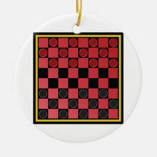 Checkers Game Ceramic Ornament
