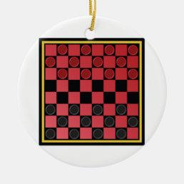 Checkers Game Ceramic Ornament