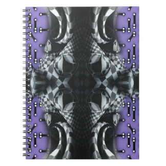 Checkers on purple circuitboard spiral notebook