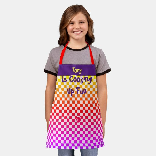 Checkers with a Rainbow of Bright Colors Apron