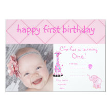 checkers zoo party invite pink