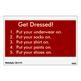 Checklist for Getting Dressed Wall Decal