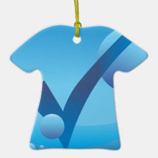 Checkmark Checklist Underwater Blue Icon Button Ceramic T-Shirt Ornament