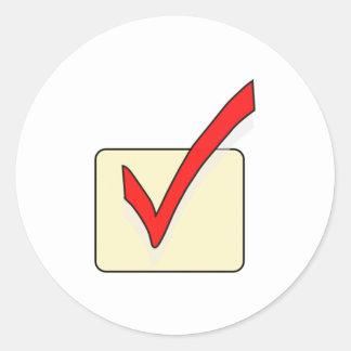 Checkmark Sign Round Sticker