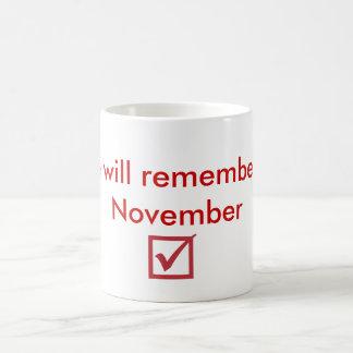 checkmark,  We will remember in November Coffee Mug