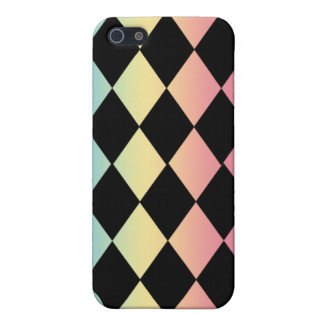 Checkmate-Black with Multi-Pastel Background Case For iPhone SE/5/5s