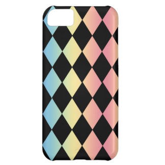 Checkmate-Black with Multi-Pastel Background Cover For iPhone 5C